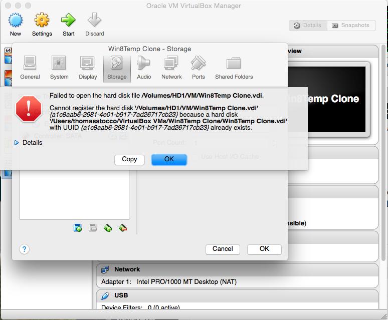 VirtualBox - UUID already exists