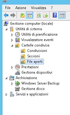 Files aperti su Windows Server 2012 R2
