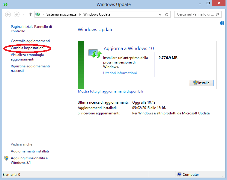 Windows 10 come aggiornamento Windows Update