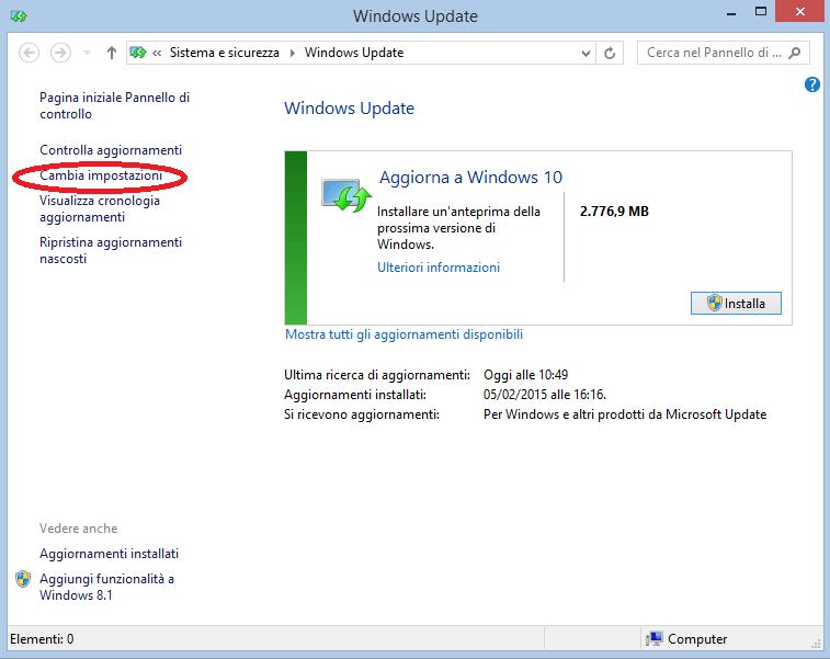 Windows 10 come aggiornamento Windows Update